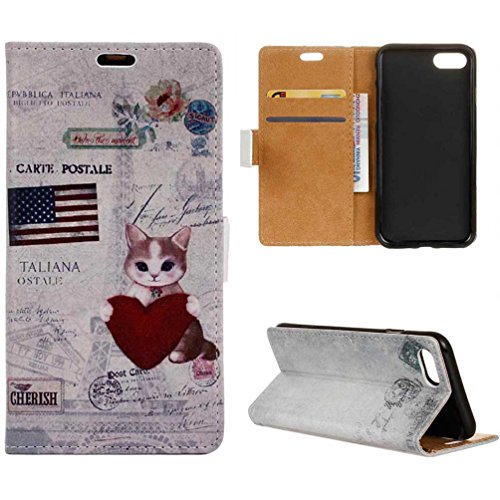 Coloré Motif PU Cuir portefeuille Housse Etui pour iPhone 7 Plus (5,5 pouces) Case Coque Protection Flip Cover avec carte de crédit Slots (KW12#) KW14#