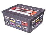 Ondis24 C Box M Aufbewahrungsbox mit Deckel Retro Design Kassette Technik 18 Liter