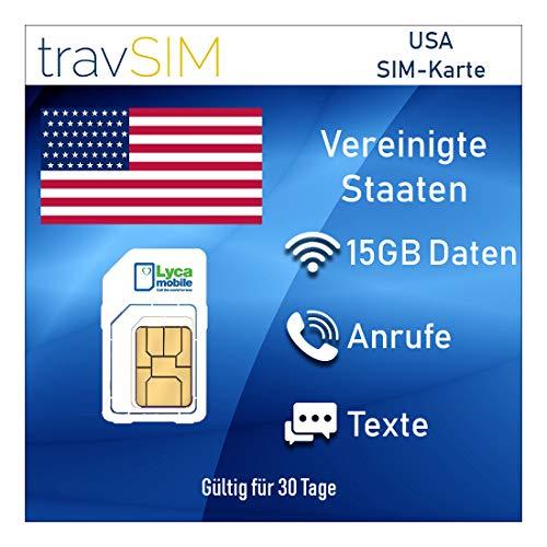 travSIM Prepaid SIM-Karte USA & Puerto Rico Lycamobile 15 GB Mobile Daten - Unbegrenzte Nationale & Internationale Anrufe + SMS - 3G 4G LTE 30 Tage Standard Micro Nano (Prepaid-android-handys Verizon Von)