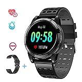 Smartwatch Deporte Hombre, Pulsera Inteligente Monitores de Actividad Impermeable IP67 con Monitor de sueño Pulsómetros Podómetro Contador de Caloría Compatible con iOS Android (Negro 2)
