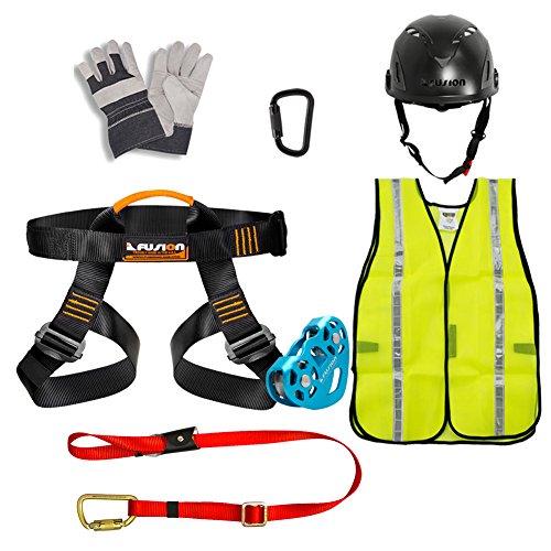 Fusion Climb Pro Backyard Zip Line Kit cablaggio cordino Trolley moschettone Casco Vest Guanto Bundle FK-A-HLTCHVG-01