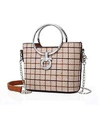 QZUnique Female Bag Korean Chic Small Square Bag Ring Shoulder Bag Sling Bag Chain Bag