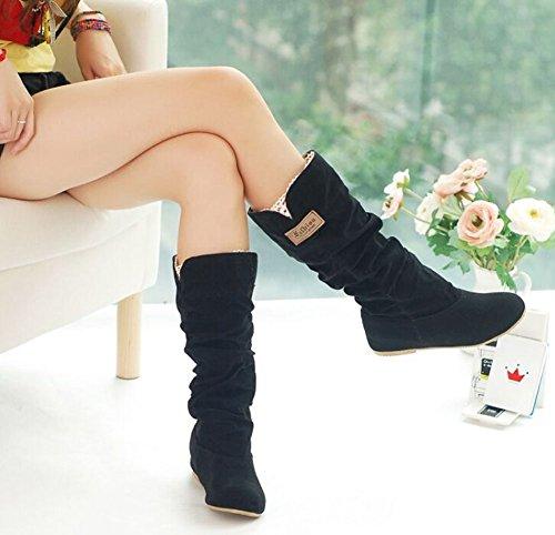 grande taille de 34,5 à 41,5 Automne Hiver élégant troupeau chaussures plates mode cuissardes femmes chaussures casual princesse bottes de neige douce Noir