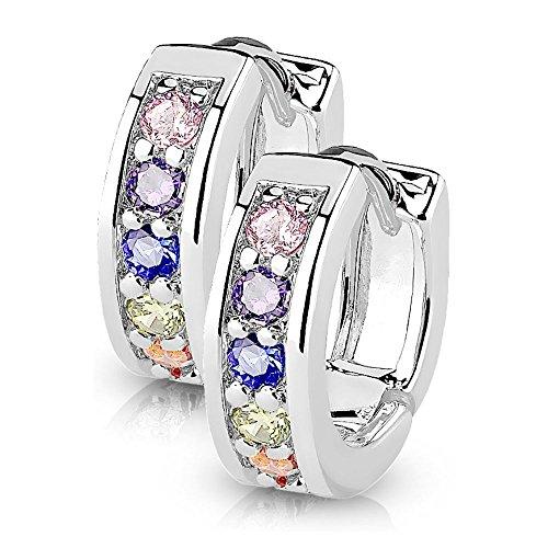 Bungsa silberne Damen-Ohrringe Kristalle bunt I hochwertige Klapp-Creolen mit Kristallen für Frauen Edelstahl