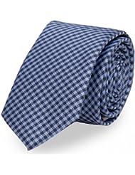 Schmale Krawatte von Fabio Farini kariert blau schwarz