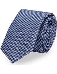 Anzug Abschlussball Hochzeit blaue 6 cm Krawatte mit Karo-Struktur Fabio Farini schmale