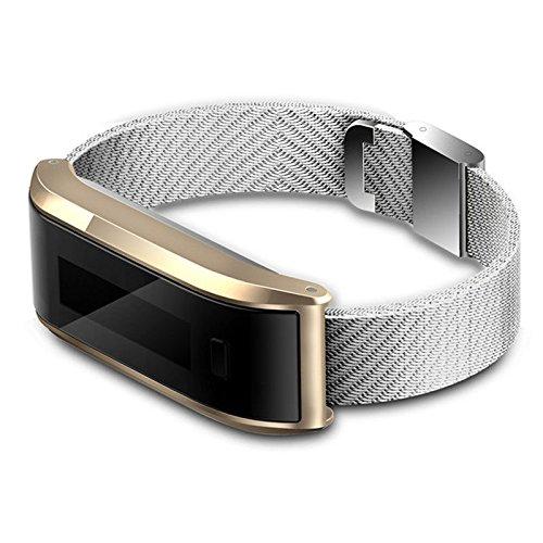 Fitness-gesundheits-systeme (Beautyrain 1 Stück Dual System Smart Sport Armband Metallband Gesundheit Life Assistant Schwarz/Gold/Silber)