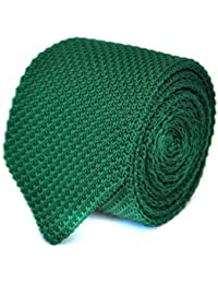 Frederick Thomas plain dark green knitted tie with pointed end
