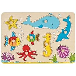 Goki - 2041550 - Puzzle En Bois À Encastrement - Subaquatique Mondial - 8 Pièces