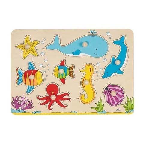 Goki - Puzzle a incastro con 8 animali, motivo: il mondo sottomarino