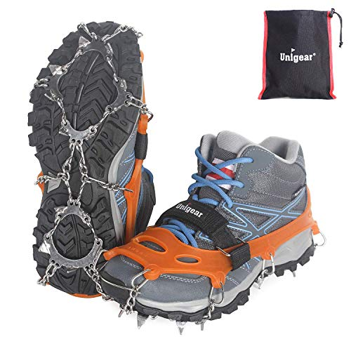 Unigear Ramponi Antiscivolo per Scarpe18 Denti 201 Copertura in Acciaio con Catene in Acciaio Inossidabile per Camminare su Neve e Ghiaccio