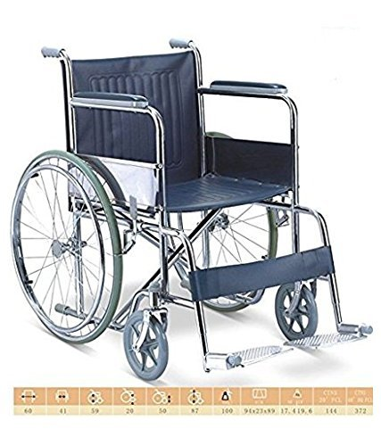 TRM Wheelchair standard Economy Manual Wheel Chair + Hot Water Electric Bag FREE  available at amazon for Rs.4499