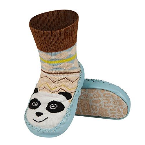 Chaussons chaussettes avec semelle en véritable cuir - Taille EUR 19-21 pour bébé 0-24 Mois PANDA Panda