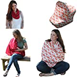 Ideal4Mommy Set Of Baby Car Seat Canopy + Matching Breastfeeding Nursing Cover - Best Multi-use Covers For Stroller