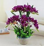 JFWMZyq Künstliche Blumen Keramik Sets Topfpflanzen Wohnzimmer Dekoration Lila Freesie 55 X 48 Cm