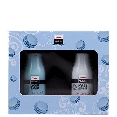 Aquolina kit cofanetto bagno schiuma + latte corpo macaron zucchero a velo regalo set gift box