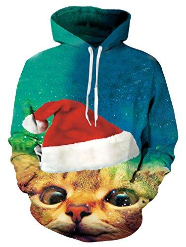 Katze Hoodie, Chicolife Unisex Galaxy Space Santa Katze Print hässliche Weihnachts Pullover Hoodie Sweatshirt für Teen Boy Girl