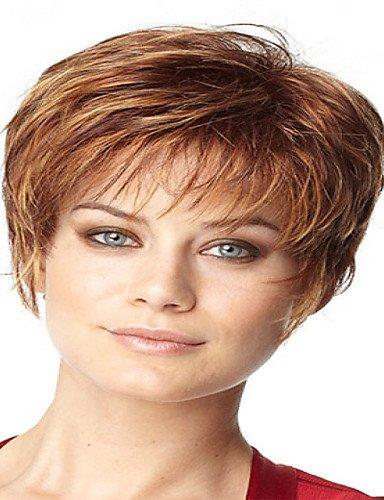 JIAFA BBDM Dame de la Mode européenne et américaine Naturelle Cheveux Courts Perruques synthétiques incurvée
