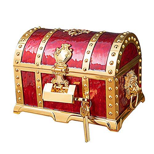schmuckkästchen damen, Metall kreative mehrschichtige Schatzschatulle, Europäische Retro Piratenschatulle Schmuck Aufbewahrungsbox - Gold