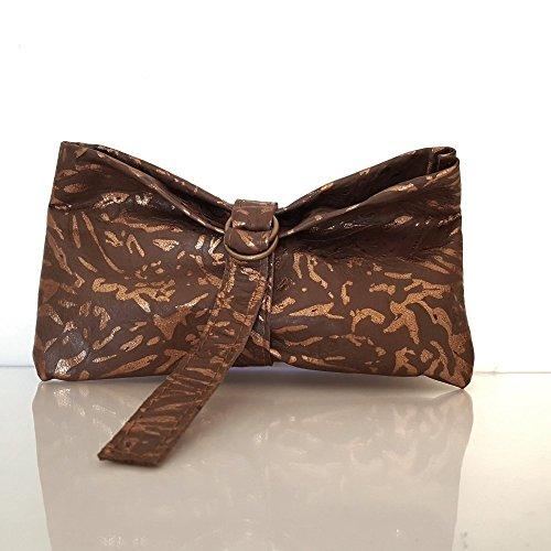 Little pouch handmade calfskin leather bronze