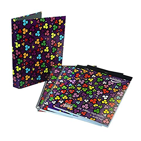 CrazyGadget® 5PC Flower Power Back To School Set featuring A4 Ring Binder, A4 140 Pg Hardback Spiral Notebook, A4 160 Pg Spiral Bound Notebook, A4 250 Pg Refill Pad & A4 140 Pg Refill Pad