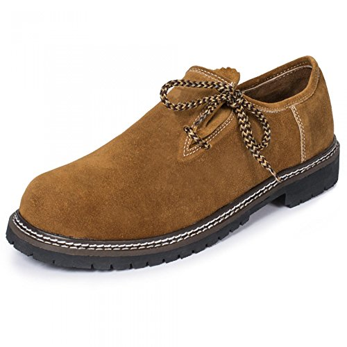 PAULGOS Trachtenschuhe Echt Leder Haferlschuhe Haferl Trachten Schuhe in 3 Farben Gr. 39-47, Schuhgröße:46, Farbe:Hellbraun