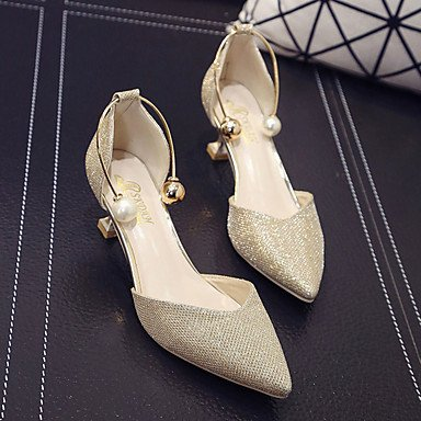 LvYuan Da donna Sandali PU (Poliuretano) Primavera Estate Perle di imitazione Kitten Oro Argento 5 - 7 cm Silver