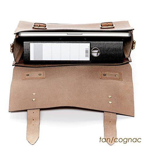 """SID & VAIN Aktentasche BOSTON - Laptoptasche groß fit für 15,4"""" Laptop mit Extra-Abtrennung - Businesstasche mit Schultergurt festes Material - echt Sattelleder hellbraun-cognac schwarz"""