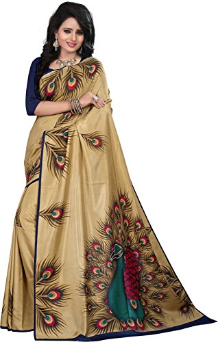 Rensil Women\'s Beige Color Art Silk Fabric Saree With Unstitched Blouse Piece