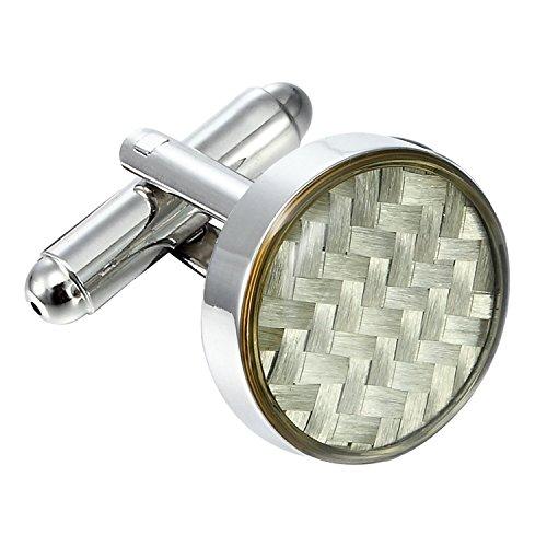 Urban-Jewelry Atemberaubende Runde 316L Edelstahl & Weiß kohlefaser Carbon Fibre Manschettenknöpfe für Männer -