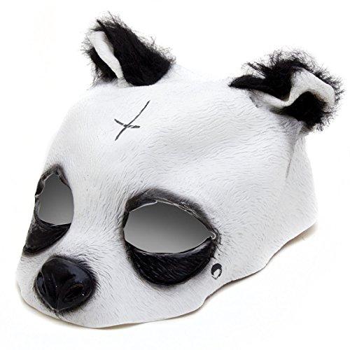 Latex-plüsch (Detailgetreue Panda Maske - Pandamaske aus Latex mit Kreuz & Träne Tiermaske)