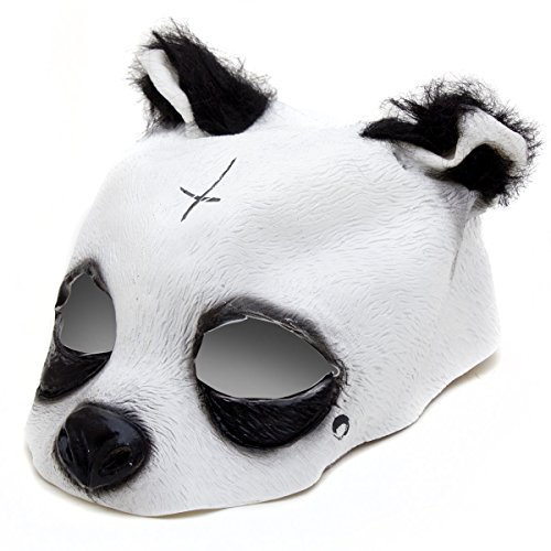 Detailgetreue Panda Maske - Pandamaske aus Latex mit Kreuz & Träne (Kinder Rapper Für Kostüm)