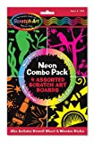 Neon Combo Pack: 4 Assorted Scratch Art Boards [With 4 Scratch Art Boards, Wooden Stylus, Instructions and Stencils]