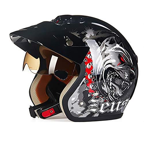 L'Unico Casco da Bicicletta di buona qualità, Grazioso e Creativo, in ABS, con Motivo a Cani Neri, per Equitazione, Auto, Moto, Mountain Bike, Casco alla Moda, x-L