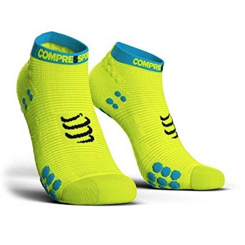 Compressport Herren V3 Sock Low Flou Yellow Laufsocke Tief, Neongelb, T3, EU 42-44