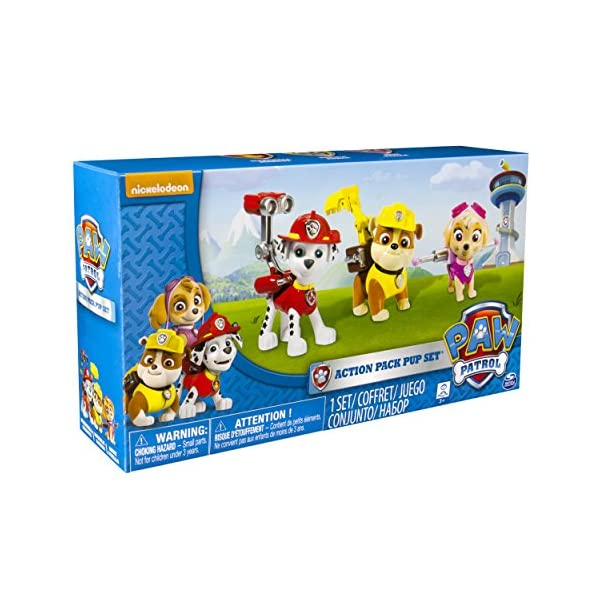 PAW PATROL – Action Pack Pup Set – Marshall, Rubble & Skye – 3 Figuras Acción La Patrulla Canina 3