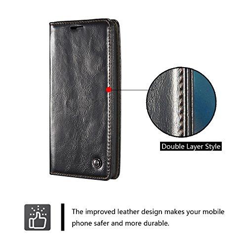 LG G4 Wallet Fall, caseme Flip Leder Case Schutzhülle Cover mit Karte Halter Schutzhülle mit Ständer für LG G4, Kunstleder Gummi, schwarz schwarz