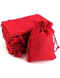 RUBY-100 Bolsas de Regalo Bolsitas de Tela Bolsas Yute para Joyas Bolsas de arpillera con cordón