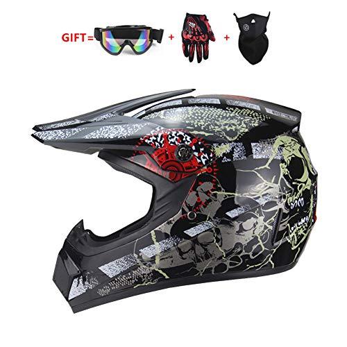 Q&Z Casco da Motocross Moto Fuori-Strada Mountain Bike Cross Country Adulto Endurance Race ATV Casco Integrale da Corsa Omologato ECE con Occhiali Maschera E Guant