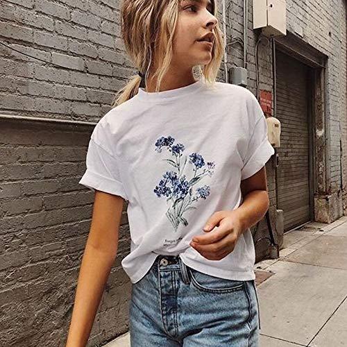 Wildblumen-shirt (XMDNYE Weibliches T-Shirt Mädchen Kostüm Mode Vergiss Mich Nicht Blumen Wildblumen Botanischer Sommer Kurzarm Damen Bekleidung)