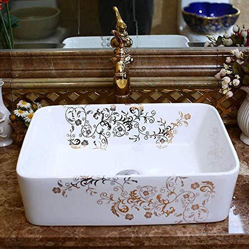 Artistico porcellana fatti a mano in ceramica bianca lavatoio camera da bagno del vaso rettangolare lavelli