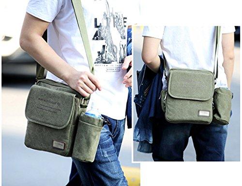 ZCJB Männer Messenger Bag Umhängetaschen Multifunktionale Canvas Bag Herren Tasche Business Männlichen Tuch Tasche Freizeit College Retro Paket ( Farbe : Khaki ) Armeegrün