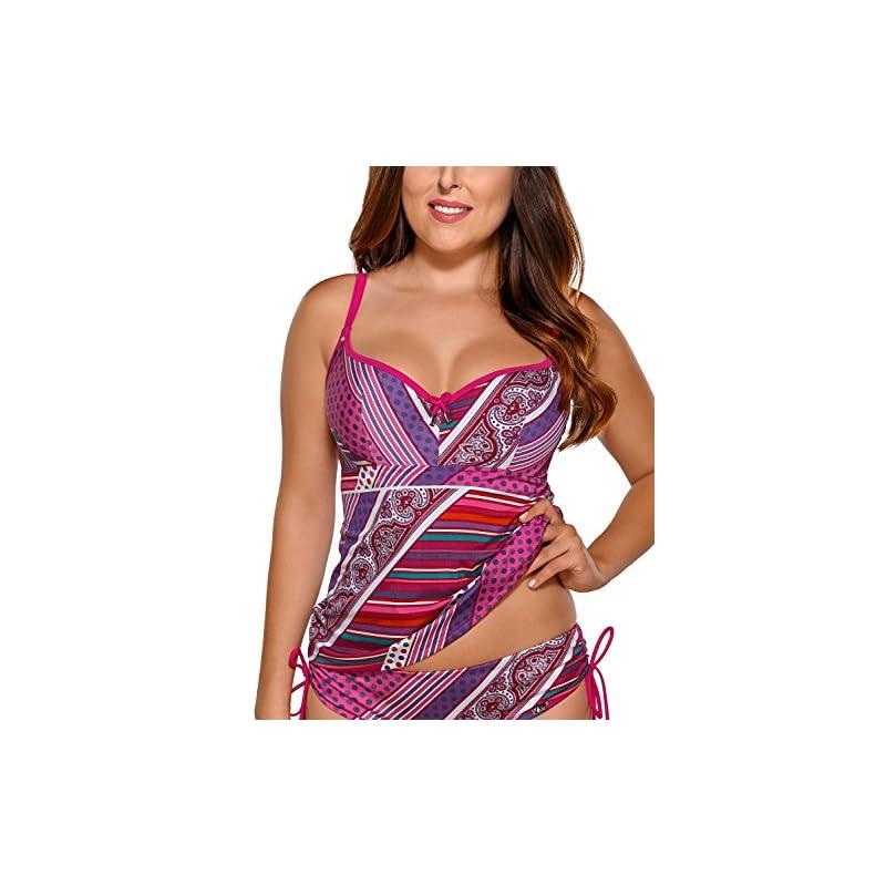 f4d278b64326 Ava ST-10 Tankini Top Camiseta Traje De Bano Para Mujeres Estampado ...