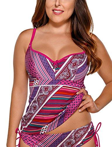 Ava-ST-10-Tankini-Top-Camiseta-Traje-De-Bano-Para-Mujeres-Estampado-Copas-Con-Relleno-Y-Con-Aros-Hecho-En-La-UE