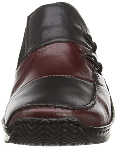 Rieker L1762-36, Damen Slipper Schwarz (black/burgundy)