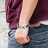 Oidea Herren Armband, Gotik Schädel Totenkopf Edelstahl Panzerkette mit geflochtenes echtes Lederband Armkette Armreif Armschmuck Handgelenk, silber schwarz - 3