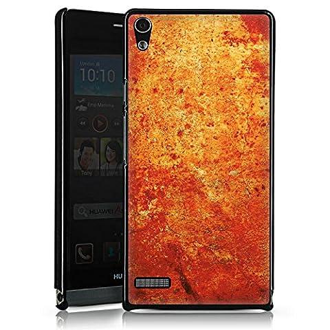 Huawei Ascend P6 Hülle Schutz Hard Case Cover Rost Struktur Look (Leichter Rost Matt)