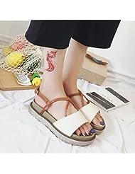 XY&GK La mujer sandalias en verano con la pendiente con sandalias de plataforma impermeable inferior grueso blanco 38
