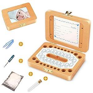 Milchzähne Zähne box, Huttoly Baby Zähne Kasten Handgemachtes Lanugo milchzahndose für Mädchen Jungen Geburtstag…