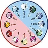 12 Stück Brilident Kristalle, Crystal, Ø ca. 1,8 mm, zum Aufkleben, Zahnschmuck Stein, Zahnschmucksteine Set,12 sortierte Farben, kristall klar + bunt, 12 Strasssteine